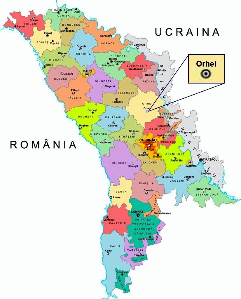 Așezarea Geografică Primaria Orașului Orhei Republica Moldova